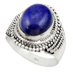Clearance Sale- 5.50cts natural blue lapis lazuli 925 silver solitaire ring size 7.5 d34186