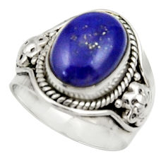 Clearance Sale- 6.73cts natural blue lapis lazuli 925 silver solitaire ring size 7.5 d34191
