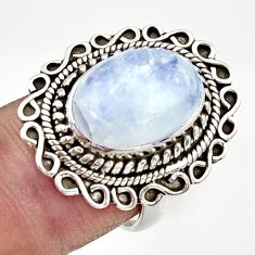 Clearance Sale- 925 silver 6.80cts natural rainbow moonstone oval solitaire ring size 7 d34200
