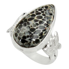 Clearance Sale- 9.04cts natural stingray coral from alaska silver solitaire ring size 6.5 d34201