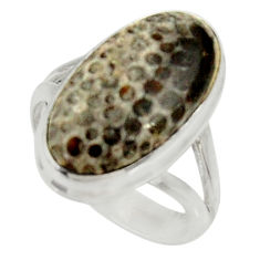 Clearance Sale- 8.83cts natural stingray coral from alaska silver solitaire ring size 7.5 d34202