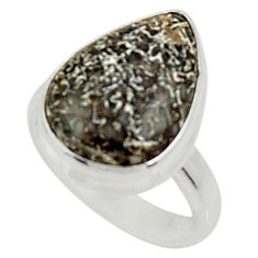 925 silver natural stingray coral from alaska solitaire ring size 7.5 d34203