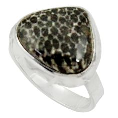 925 silver natural stingray coral from alaska solitaire ring size 8.5 d34204