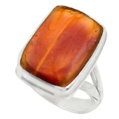 Clearance Sale- 925 silver 11.19cts natural brown imperial jasper solitaire ring size 6.5 d34211