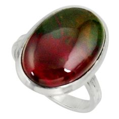 14.90cts natural bloodstone african 925 silver solitaire ring size 10 d34212