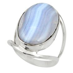 925 silver 14.72cts natural blue lace agate solitaire ring jewelry size 7 d34213