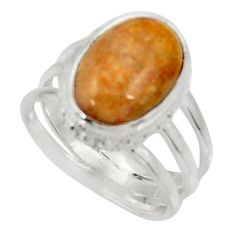 925 silver natural fossil coral petoskey stone solitaire ring size 7.5 d34216