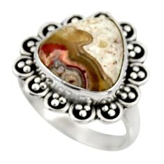 Clearance Sale- 6.27cts natural mexican laguna lace agate silver solitaire ring size 6.5 d34217