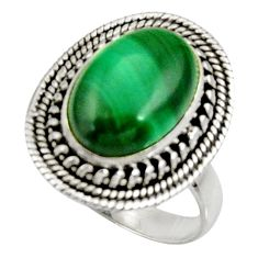 7.02cts natural malachite (pilot's stone) silver solitaire ring size 8 d34218