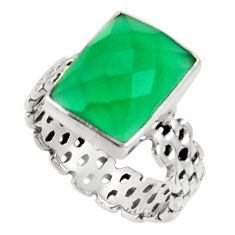 Clearance Sale- 6.48cts natural green chalcedony 925 silver solitaire ring jewelry size 9 d34221