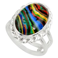 925 silver 7.17cts natural rainbow calsilica oval solitaire ring size 6.5 d34230