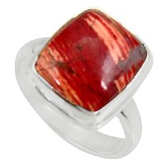 6.46cts natural brown snakeskin jasper 925 silver solitaire ring size 8 d34232