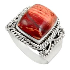 Clearance Sale- 5.52cts natural brown snakeskin jasper 925 silver solitaire ring size 8 d34237