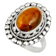 Clearance Sale- 6.32cts natural brown tiger's eye 925 silver solitaire ring size 9 d34251