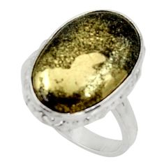 12.96cts natural pyrite in magnetite 925 silver solitaire ring size 7 d34253