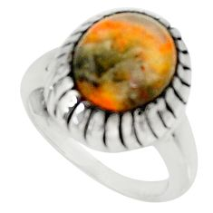 Natural bumble bee australian jasper 925 silver solitaire ring size 7 d34255