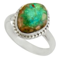5.63cts natural green opaline 925 silver solitaire ring jewelry size 8.5 d34262