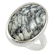 Clearance Sale- 7.85cts natural white pinolith 925 silver solitaire ring jewelry size 8 d34263