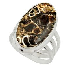 Natural turritella fossil snail agate 925 silver solitaire ring size 7.5 d34266