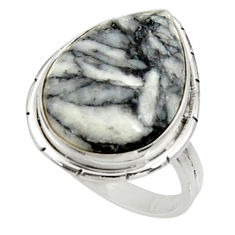 Clearance Sale- 925 silver 13.85cts natural white pinolith pear solitaire ring size 7.5 d34267