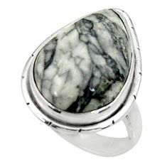 Clearance Sale- 12.34cts natural white pinolith 925 silver solitaire ring size 6.5 d34272