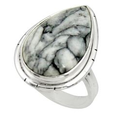 Clearance Sale- 14.23cts natural white pinolith 925 silver solitaire ring size 6.5 d34273