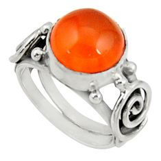 Clearance Sale- 5.43cts natural orange cornelian 925 silver solitaire ring size 6 d34274