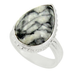 Clearance Sale- 13.28cts natural white pinolith 925 silver solitaire ring jewelry size 7 d34275