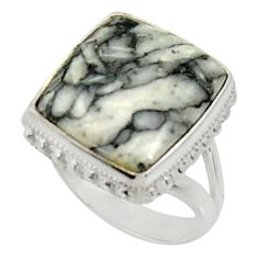 Clearance Sale- 925 silver 11.21cts natural white pinolith solitaire ring jewelry size 6 d34277