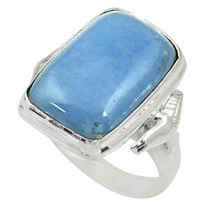 9.65cts natural blue angelite 925 silver solitaire ring jewelry size 8 d34278