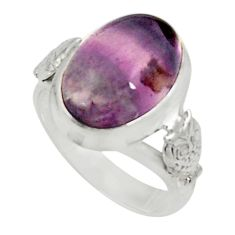 Clearance Sale- 6.63cts purple fluorite 925 sterling silver solitaire ring jewelry size 7 d34279