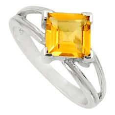 2.87cts natural yellow citrine 925 silver solitaire ring jewelry size 7 d34281