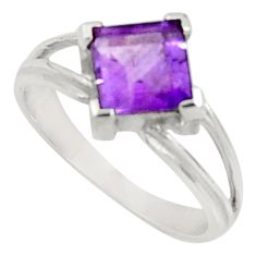Clearance Sale- 2.87cts natural purple amethyst 925 silver solitaire ring size 6.5 d34283