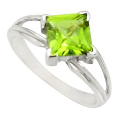 2.72cts natural green peridot 925 silver solitaire ring jewelry size 7.5 d34286