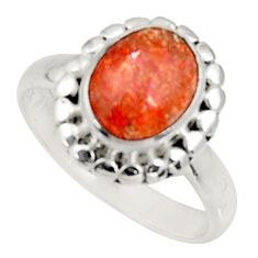 Clearance Sale- 925 silver 4.02cts natural orange sunstone oval solitaire ring size 8 d34295