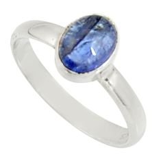 2.38cts natural blue tanzanite 925 silver solitaire ring jewelry size 8 d34297