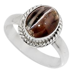 Clearance Sale- 925 silver 3.50cts natural rainbow obsidian eye solitaire ring size 7 d34310