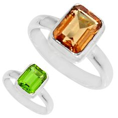 3.50cts green alexandrite (lab) 925 silver solitaire ring jewelry size 7 d34314
