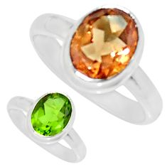 925 silver 4.01cts green alexandrite (lab) oval solitaire ring size 7.5 d34315