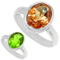 Clearance Sale- 4.21cts green alexandrite (lab) 925 silver solitaire ring size 6.5 d34318