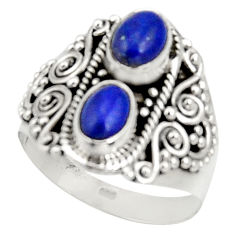 Clearance Sale- 925 sterling silver 3.41cts natural blue lapis lazuli ring size 8.5 d34323