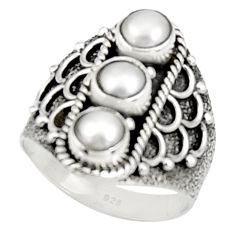 Clearance Sale- 2.76cts natural white pearl round 925 sterling silver ring jewelry size 7 d34324