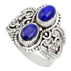 Clearance Sale- 3.01cts natural blue lapis lazuli 925 sterling silver ring size 7.5 d34328