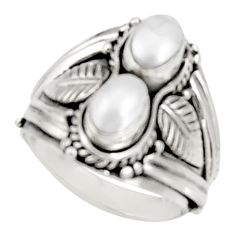 2.31cts natural white pearl 925 sterling silver ring jewelry size 7.5 d34332