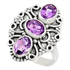 925 sterling silver 4.43cts natural purple amethyst ring jewelry size 7.5 d34334