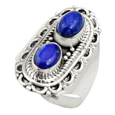Clearance Sale- 3.42cts natural blue lapis lazuli 925 sterling silver ring jewelry size 7 d34335