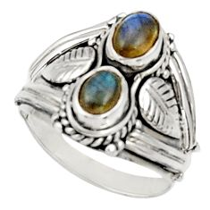 Clearance Sale- 2.11cts natural blue labradorite 925 sterling silver ring jewelry size 7 d34339