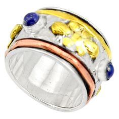 Victorian natural lapis lazuli 925 silver two tone spinner ring size 8 d34349