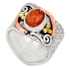 Clearance Sale- Silver 3.16cts victorian natural orange sunstone two tone ring size 8.5 d34350