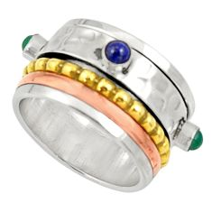 Victorian natural chalcedony 925 silver two tone spinner ring size 6.5 d34353